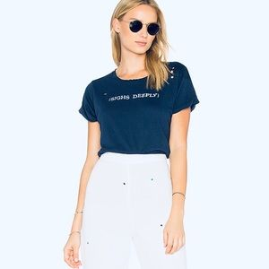 Wildfox Sighs Deeply Midnight Navy Distressed Tee